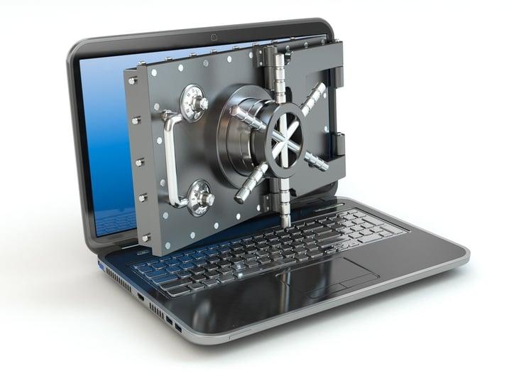 Computer laptop security bank vault lock